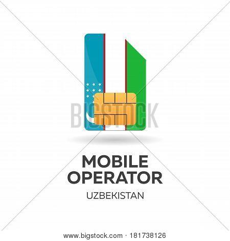 Uzbekistan Mobile Operator. Sim Card With Flag. Vector Illustration.