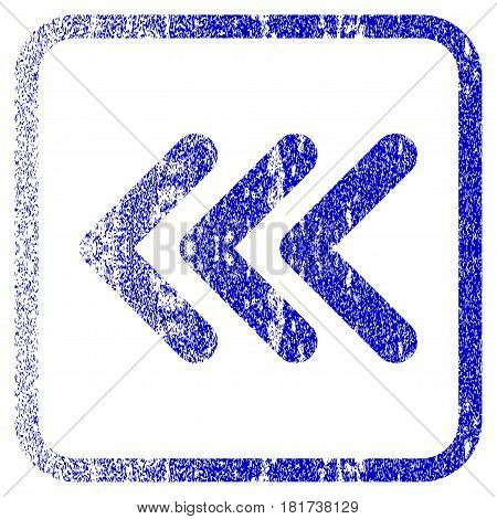 Triple Arrowhead Left textured icon for overlay watermark stamps. Blue vectorized texture. Flat vector symbol with unclean design inside rounded square frame. Framed blue rubber seal stamp imitation.