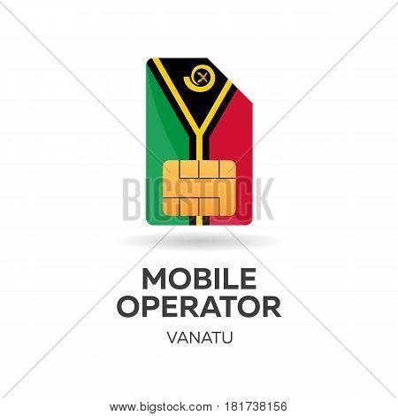 Vanatu Mobile Operator. Sim Card With Flag. Vector Illustration.