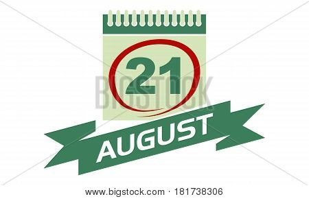 21 August Calendar with Ribbon Event Reminder