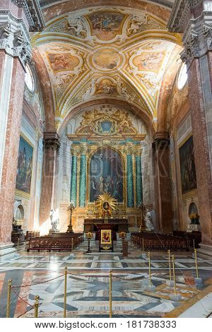 ROME, ITALY - MAY 8, 2014: Interior of the Basilica of St. Mary of the Angels and the Martyrs (Santa Maria degli Angeli e dei Martiri) built inside the Baths of Diocletian in the 16th century by Michelangelo in Rome.