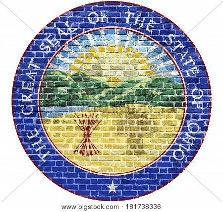 Ohio Seal US flag painted on old vintage brick wall