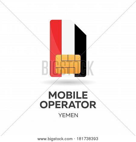 Yemen Mobile Operator. Sim Card With Flag. Vector Illustration.