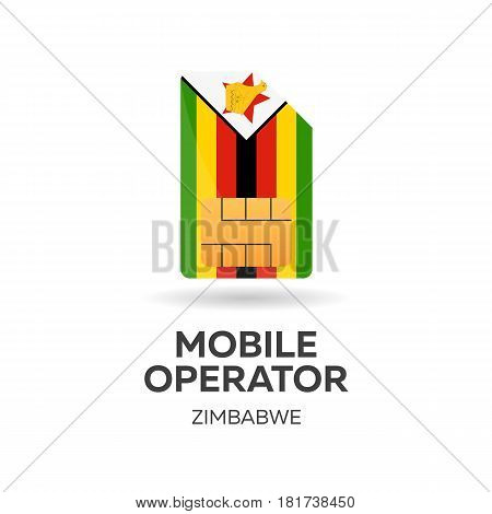 Zimbabwe Mobile Operator. Sim Card With Flag. Vector Illustration.