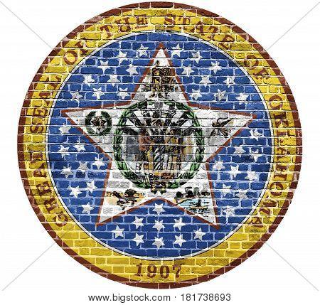 Oklahoma Seal US flag painted on old vintage brick wall