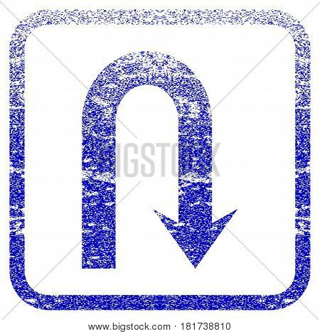 Turn Back textured icon for overlay watermark stamps. Blue vectorized texture. Flat vector symbol with dirty design inside rounded square frame. Framed blue rubber seal stamp imitation.