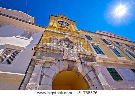 Rijeka Central Square Clock Tower View
