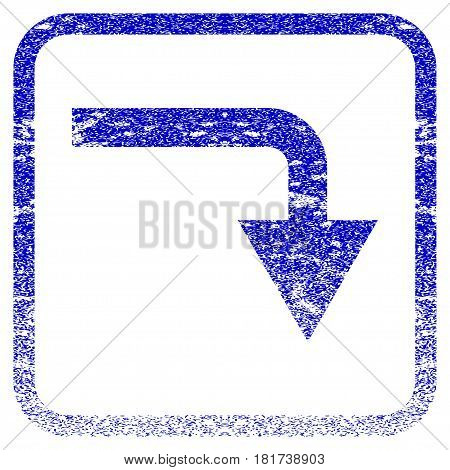 Turn Down textured icon for overlay watermark stamps. Blue vectorized texture. Flat vector symbol with dust design inside rounded square frame. Framed blue rubber seal stamp imitation.