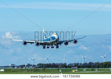 Amsterdam Schiphol Airport the Netherlands - April 14 2017:Air Bridge Cargo 747 aircraft landing at Amsterdam Schiphol Airport