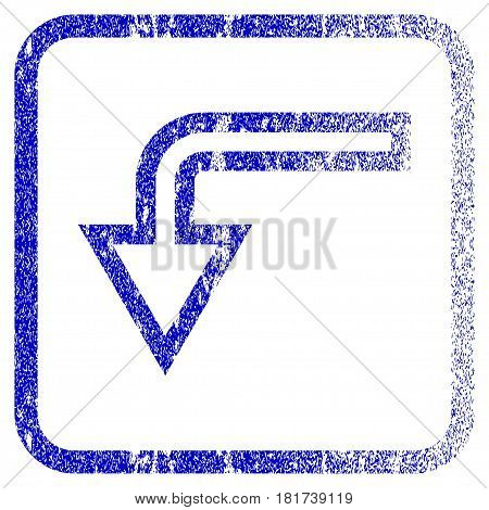 Turn Down textured icon for overlay watermark stamps. Blue vectorized texture. Flat vector symbol with scratched design inside rounded square frame. Framed blue rubber seal stamp imitation.