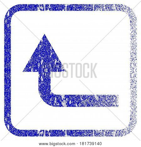 Turn Forward textured icon for overlay watermark stamps. Blue vectorized texture. Flat vector symbol with scratched design inside rounded square frame. Framed blue rubber seal stamp imitation.