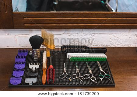 Barber shop equipment. Professional hairdressing tools in barber shop.