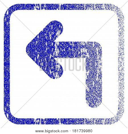 Turn Left textured icon for overlay watermark stamps. Blue vectorized texture. Flat vector symbol with unclean design inside rounded square frame. Framed blue rubber seal stamp imitation.