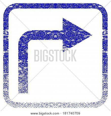 Turn Right textured icon for overlay watermark stamps. Blue vectorized texture. Flat vector symbol with unclean design inside rounded square frame. Framed blue rubber seal stamp imitation.