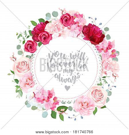 Romantic wedding floral vector design round card. Beautiful spring bouquet. Burgundy red peony, rose, hydrangea, camellia, eucalyptus. Colorful objects set. All elements are isolated and editable