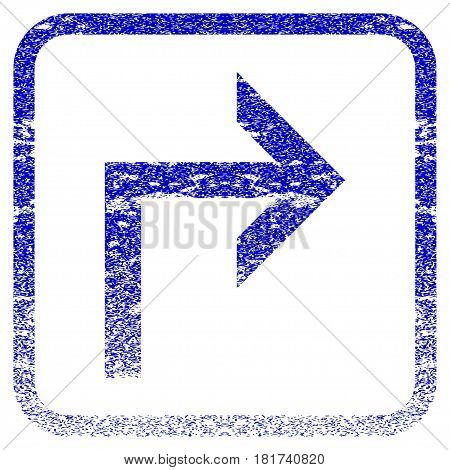 Turn Right textured icon for overlay watermark stamps. Blue vectorized texture. Flat vector symbol with scratched design inside rounded square frame. Framed blue rubber seal stamp imitation.