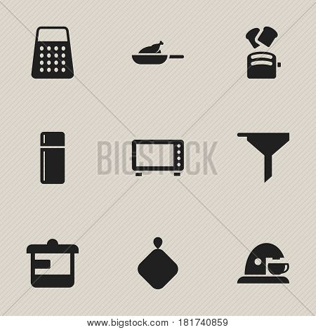 Set Of 9 Editable Cook Icons. Includes Symbols Such As Cup, Utensil, Pot-Holder And More. Can Be Used For Web, Mobile, UI And Infographic Design.