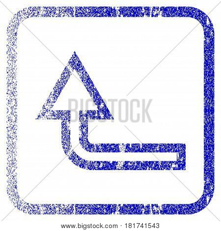 Turn Up textured icon for overlay watermark stamps. Blue vectorized texture. Flat vector symbol with scratched design inside rounded square frame. Framed blue rubber seal stamp imitation.