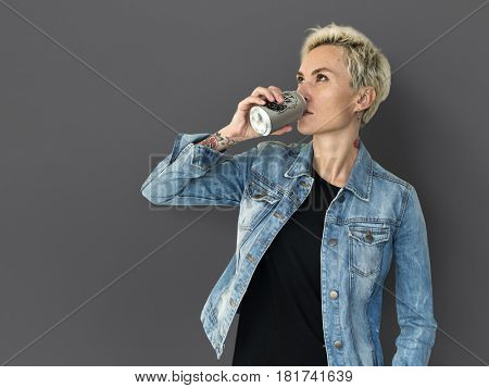 Adult Woman Drinking Beverage from Can