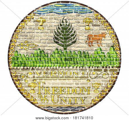 Vermont Seal US flag painted on old vintage brick wall