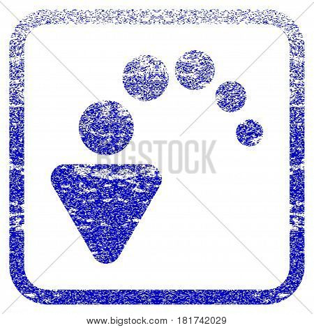 Undo textured icon for overlay watermark stamps. Blue vectorized texture. Flat vector symbol with unclean design inside rounded square frame. Framed blue rubber seal stamp imitation.