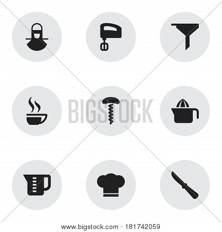 Set Of 9 Editable Cook Icons. Includes Symbols Such As Coffee Cup, Cook Cap, Rocker Blade And More. Can Be Used For Web, Mobile, UI And Infographic Design.