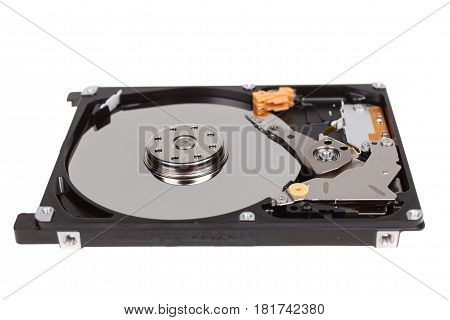 inside of hard disk drive. HDD isolated on white background