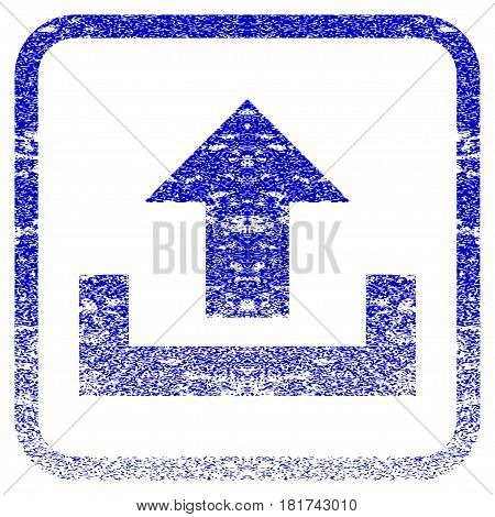 Upload textured icon for overlay watermark stamps. Blue vectorized texture. Flat vector symbol with dirty design inside rounded square frame. Framed blue rubber seal stamp imitation.