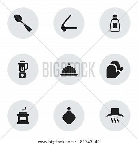 Set Of 9 Editable Cooking Icons. Includes Symbols Such As Tablespoon, Kitchen Glove, Crusher And More. Can Be Used For Web, Mobile, UI And Infographic Design.