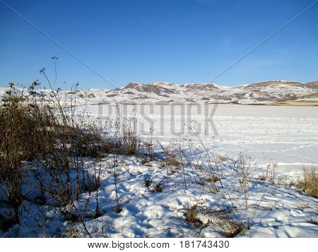 Snow-covered field in sunny winter day on blue sky background horizontal view