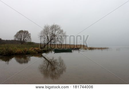 Russia Pereslavl-Zalessky Pleshcheevo lake. Dry trees and boats with reflection on the lake in overcast day horizontal view