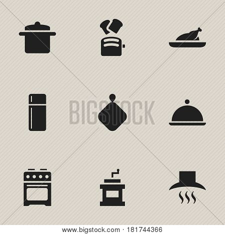 Set Of 9 Editable Cooking Icons. Includes Symbols Such As Pot-Holder, Slice Bread, Cookware And More. Can Be Used For Web, Mobile, UI And Infographic Design.