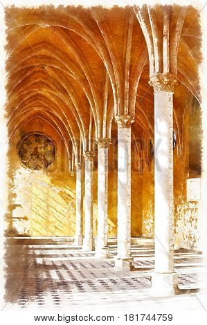Colorful painting of Abbey of St. Jean des Vignes, Soissons, Aisne department, Picardy, France