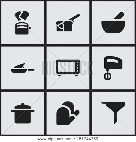 Set Of 9 Editable Cook Icons. Includes Symbols Such As Agitator, Oven, Slice Bread And More. Can Be Used For Web, Mobile, UI And Infographic Design.