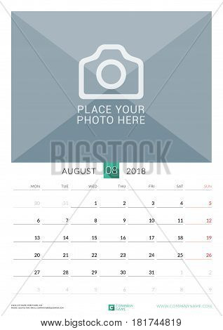 August 2018. Wall Monthly Calendar For 2018 Year. Vector Design Print Template With Place For Photo.