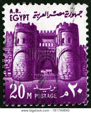 EGYPT - CIRCA 1973: a stamp printed in Egypt shows Bab al Futuh Gate Cairo circa 1973