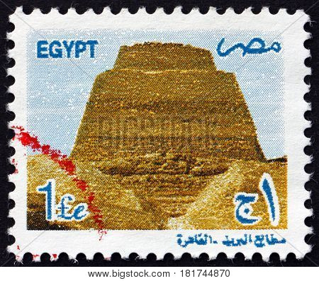 EGYPT - CIRCA 2000: a stamp printed in Egypt shows Pyramid at Snefru circa 2000