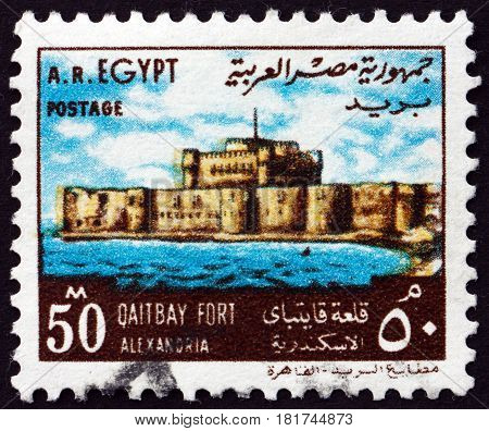 EGYPT - CIRCA 1972: a stamp printed in Egypt shows Qaitbay Fort Alexandria circa 1972