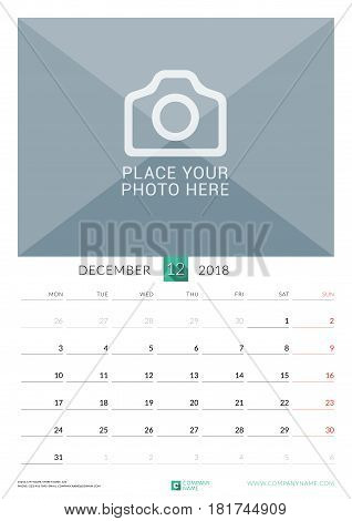 December 2018. Wall Monthly Calendar For 2018 Year. Vector Design Print Template With Place For Phot