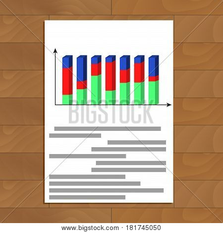 Document with 3d chart. Report development analytics infochart with red curve vector illustration