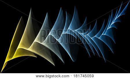 3D illustration of veil looks like plume on black background