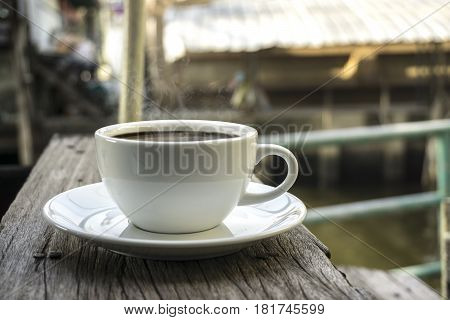 coffee on natural outside background wooden with text and everything