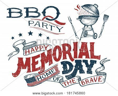 Memorial Day barbecue party greeting card. Hand lettering cookout BBQ party invitation. Sketch of barbecue charcoal kettle grill with tools. Vintage typography illustration isolated on white