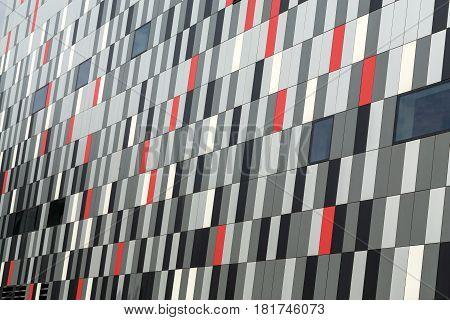 CRACOW POLAND - FEBRUARY 14 2016: Part of ceramic exterior facade of ICE Krakow Congress Center Kraków Poland. Architect: Ingarden & Ewy Ararta Isozak