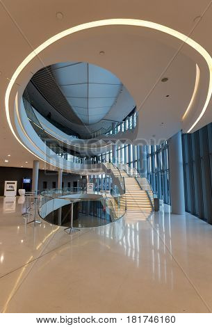 CRACOW POLAND - JUNE 11 2017: Foyer with staircase. ICE Krakow Congress Center Kraków Poland. Architect: Ingarden & Ewy Ararta Isozaki