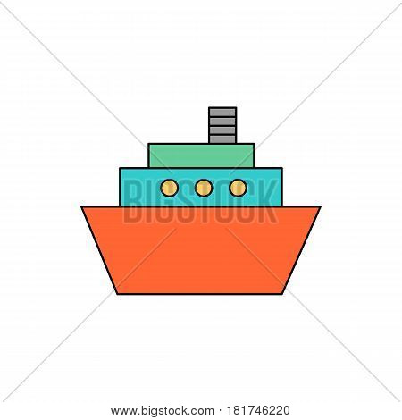 Flat line colorful ship icon on white background. Isolated ship icon for use in variety of projects. Minimal vector ship icon for web sites and apps.