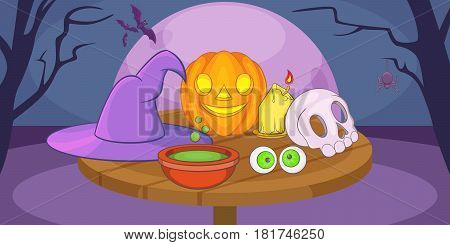 Haloween mystic horizontal banner concept. Cartoon illustration of Haloween mystic vector horizontal banner for web