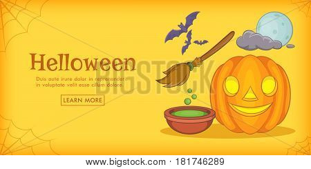 Haloween magic horizontal banner concept. Cartoon illustration of haloween magic vector horizontal banner for web