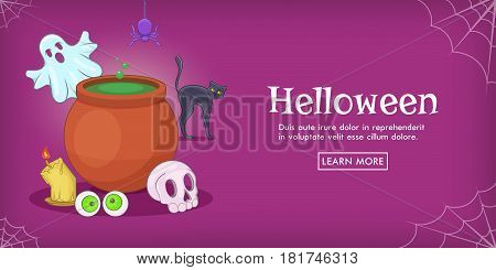 Haloween spooky horizontal banner concept. Cartoon illustration of Haloween spooky vector horizontal banner for web