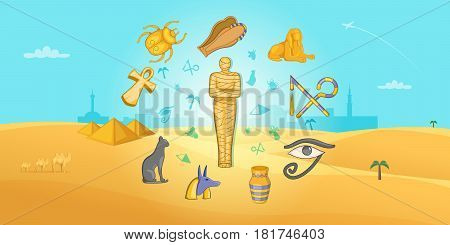 Egypt travel horizontal banner concept. Cartoon illustration of Egypt travel vector horizontal banner for web